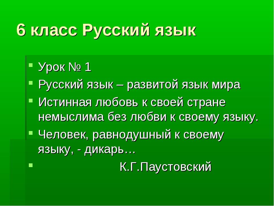 6 класс Русский язык Урок № 1 Русский язык – развитой язык мира Истинная любо...
