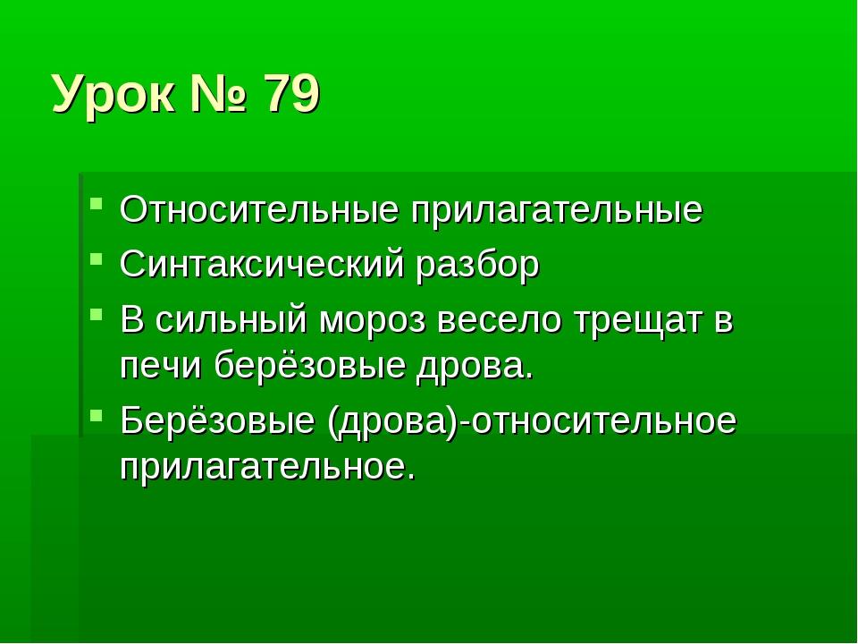 Урок № 79 Относительные прилагательные Синтаксический разбор В сильный мороз...
