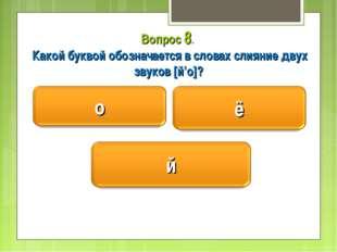 Вопрос 8. Какой буквой обозначается в словах слияние двух звуков [й'о]?