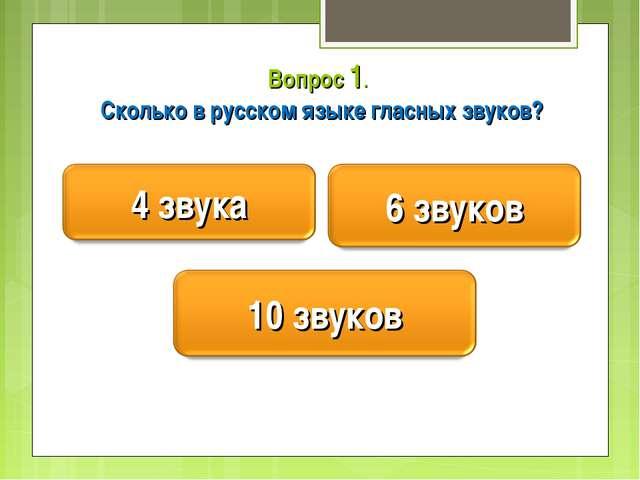 Вопрос 1. Сколько в русском языке гласных звуков?
