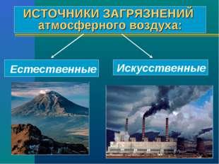 ИСТОЧНИКИ ЗАГРЯЗНЕНИЙ атмосферного воздуха: Естественные Искусственные