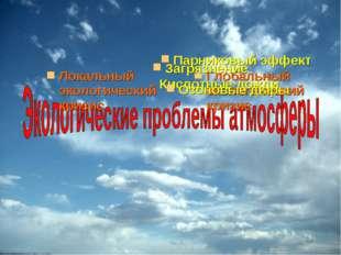 Локальный экологический кризис Глобальный экологический кризис Кислотные дожд