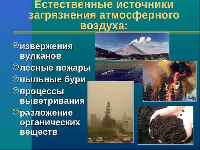Естественные источники загрязнения атмосферного воздуха: извержения вулканов...