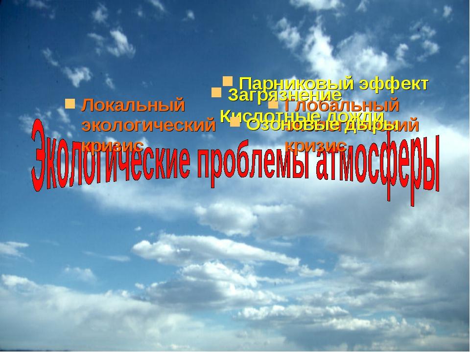 Локальный экологический кризис Глобальный экологический кризис Кислотные дожд...