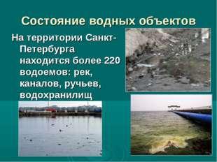 Состояние водных объектов На территории Санкт-Петербурга находится более 220