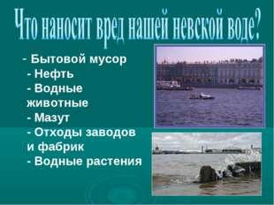 - Бытовой мусор - Нефть - Водные животные - Мазут - Отходы заводов и фабрик