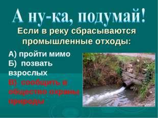 А) пройти мимо Б) позвать взрослых В) сообщить в общество охраны природы Если