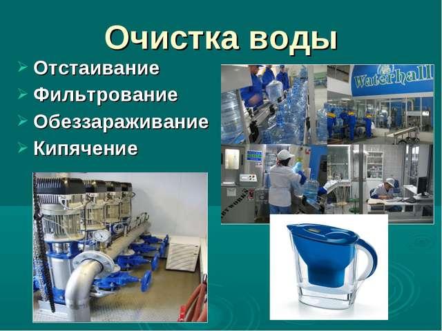 Отстаивание Фильтрование Обеззараживание Кипячение Очистка воды