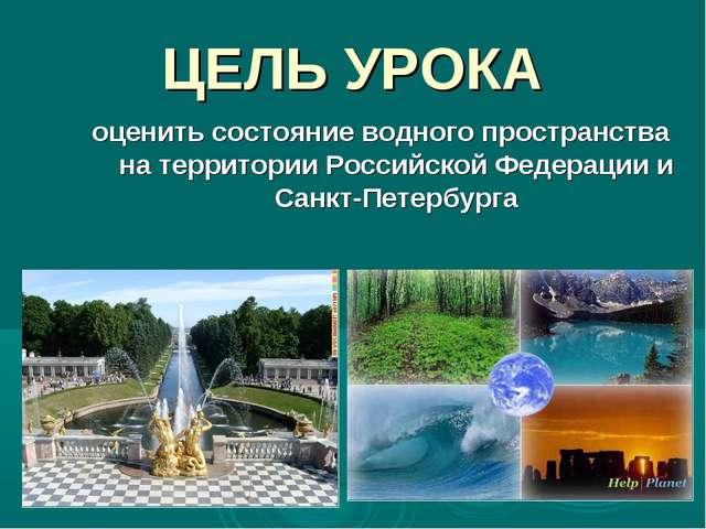 ЦЕЛЬ УРОКА оценить состояние водного пространства на территории Российской Фе...