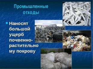 Промышленные отходы Наносят большой ущерб почвенно-растительному покрову