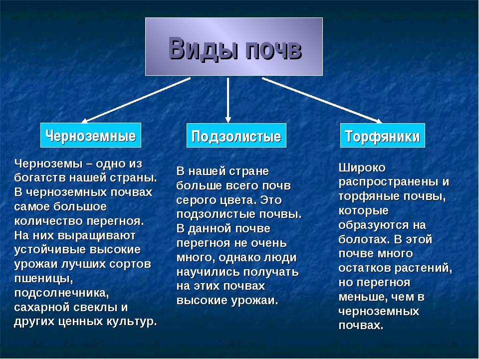 Виды почв Черноземные Подзолистые Торфяники Черноземы – одно из богатств наше...