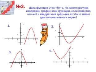 Дана функция у=ах2+bх+с. На каком рисунке изображён график этой функции, если
