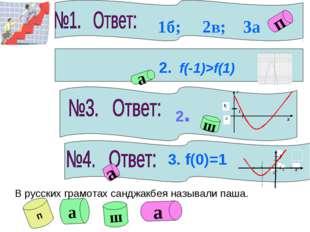 2. f(-1)>f(1) а 2. ш а 3. f(0)=1 1б; 2в; 3а п В русских грамотах санджакбея