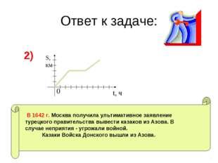 Ответ к задаче: 2) S, км t, ч 0 В 1642 г. Москва получила ультимативное заявл