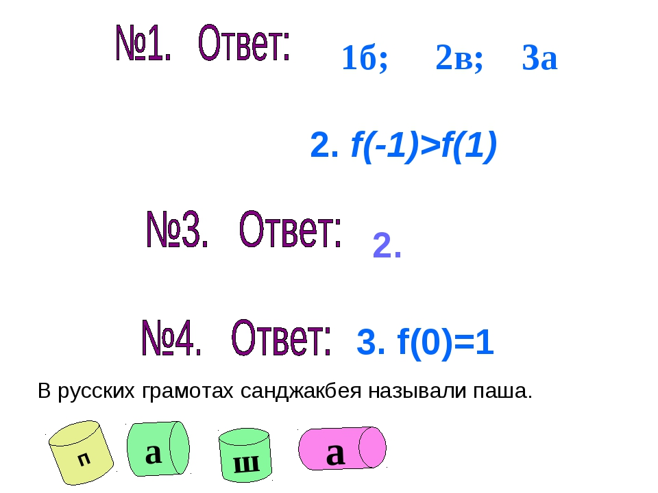 2. 3. f(0)=1 1б; 2в; 3а В русских грамотах санджакбея называли паша. п а ш а...