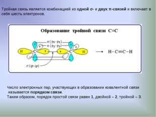 Тройная связь является комбинацией из одной σ- и двух π-связей и включает в с