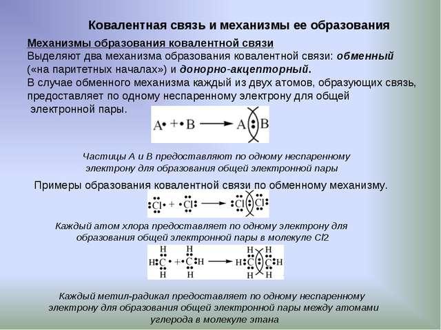 Ковалентная связь и механизмы ее образования Механизмы образования ковалентно...