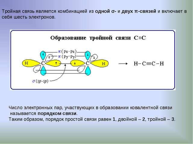 Тройная связь является комбинацией из одной σ- и двух π-связей и включает в с...