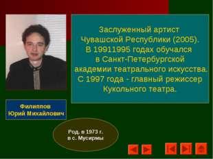 Филиппов Юрий Михайлович Заслуженный артист Чувашской Республики (2005). В 19