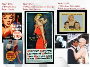 Year: 1956 Film: Bus Stop Role: Chérie Year: 1957 Film: The Prince and the Sh