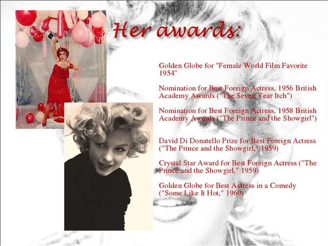 "Golden Globe for ""Female World Film Favorite 1954"" Nomination for Best Forei..."