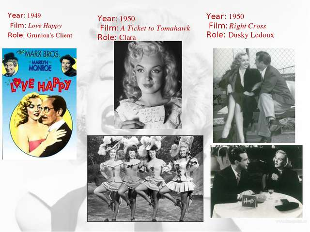 Year: 1949 Film: Love Happy Role: Grunion's Client Year: 1950 Film: A Ticket...