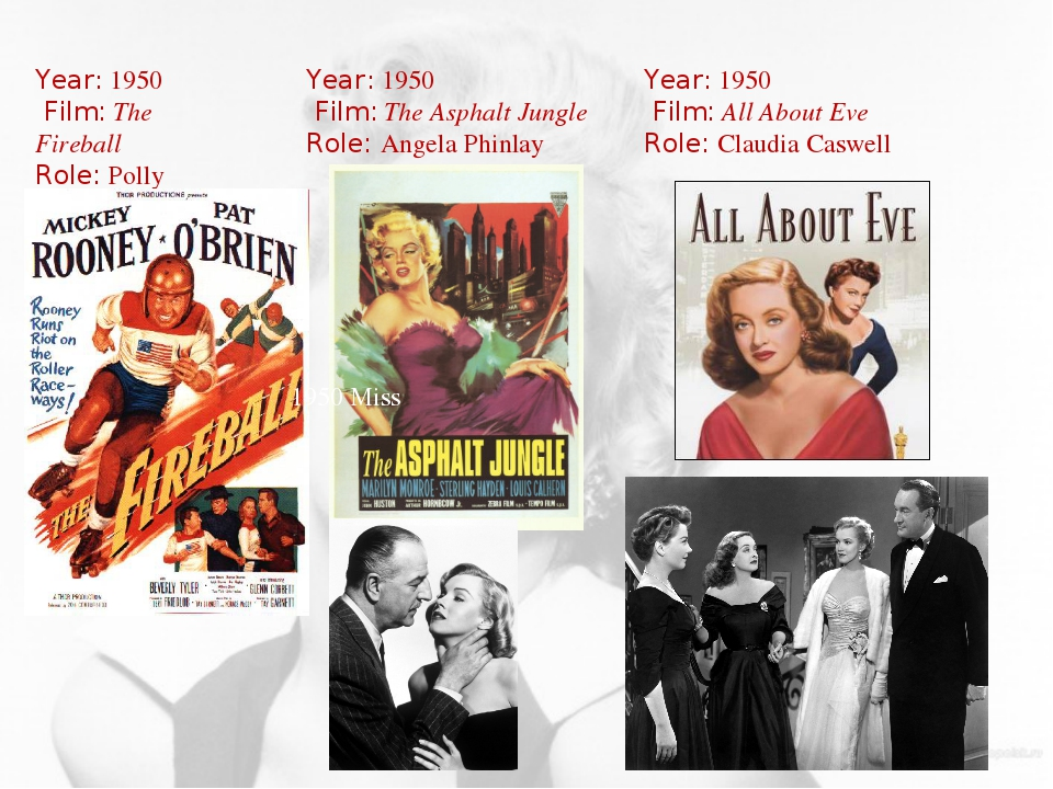 Year: 1950 Film: The Fireball Role: Polly Year: 1950 Film: The Asphalt Jungle...
