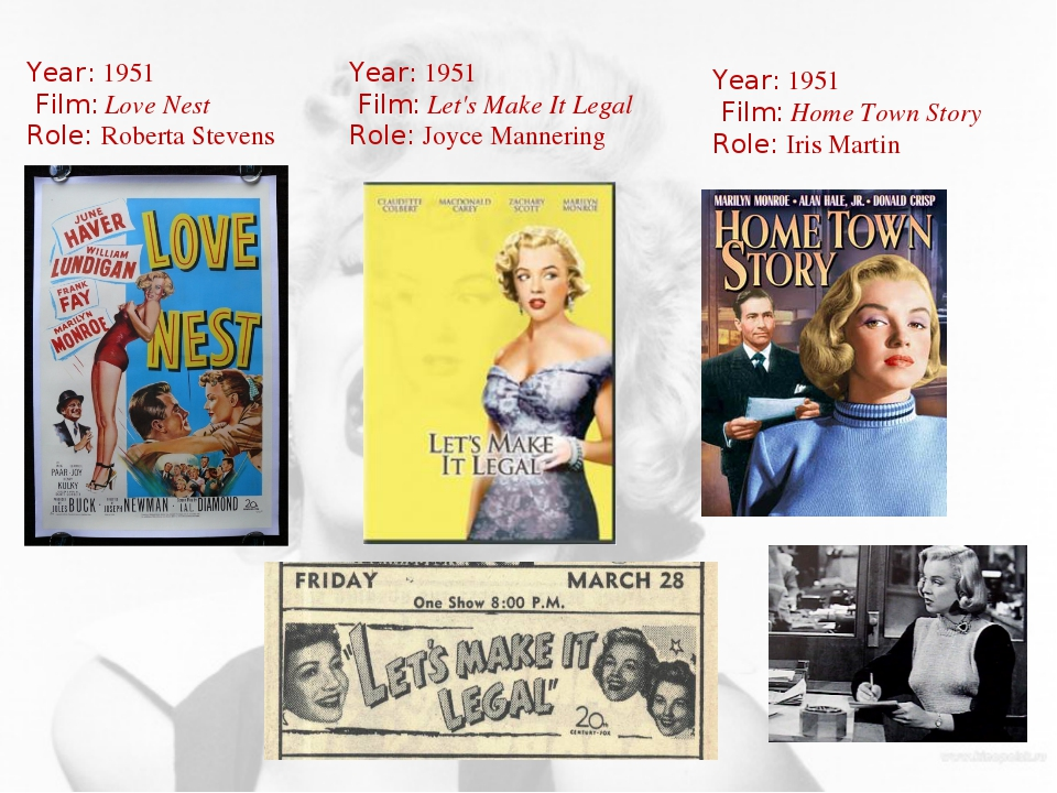 Year: 1951 Film: Love Nest Role: Roberta Stevens Year: 1951 Film: Home Town S...