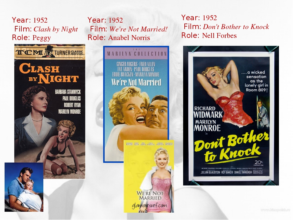 Year: 1952 Film: Clash by Night Role: Peggy Year: 1952 Film: We're Not Marrie...
