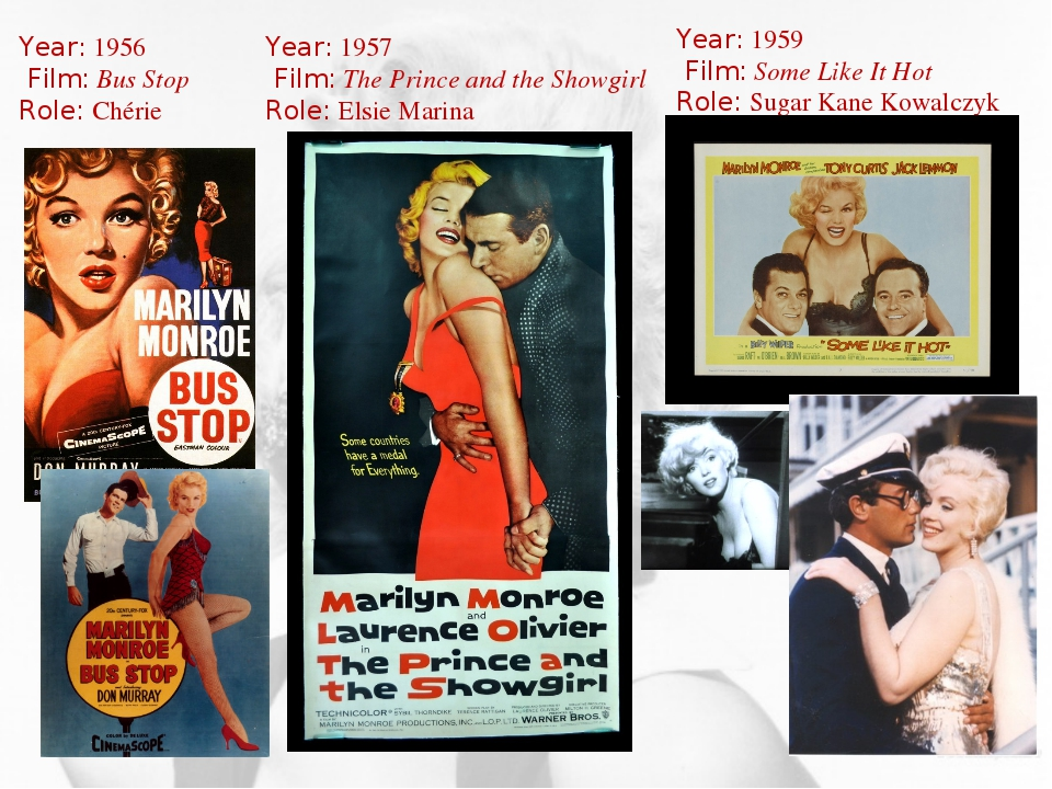 Year: 1956 Film: Bus Stop Role: Chérie Year: 1957 Film: The Prince and the Sh...