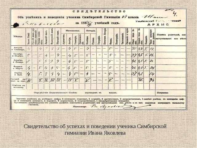 Свидетельство об успехах и поведении ученика Симбирской гимназии Ивана Яковлева