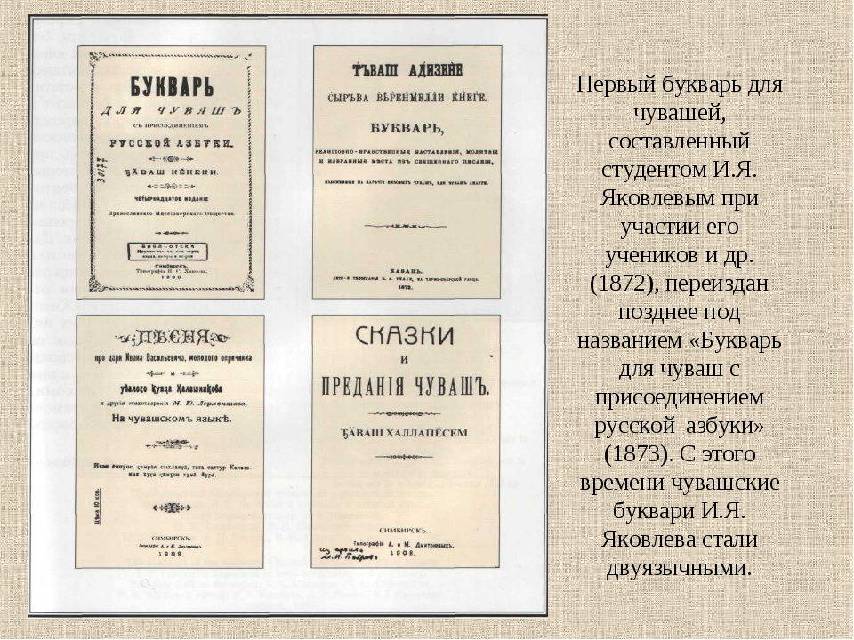 Первый букварь для чувашей, составленный студентом И.Я. Яковлевым при участии...