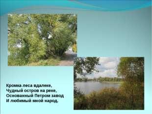 Кромка леса вдалеке, Чудный остров на реке, Основанный Петром завод И любимый