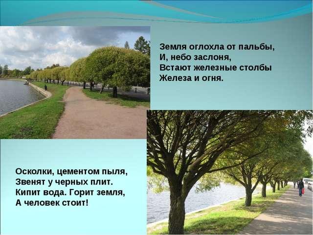 Земля оглохла от пальбы, И, небозаслоня, Встают железные столбы Железа и огн...