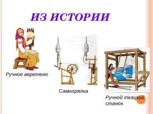 ИЗ ИСТОРИИ Ручное веретено Самопрялка Ручной ткацкий станок