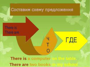 There is There are ЧТО ГДЕ There is a computer on the table. There are two bo