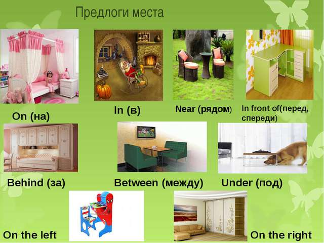 Предлоги места On (на) Near (рядом) Behind (за) In (в) In front of(перед, сп...