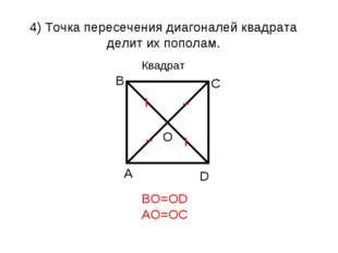 4) Точка пересечения диагоналей квадрата делит их пополам. BO=OD AO=OC Квадрат