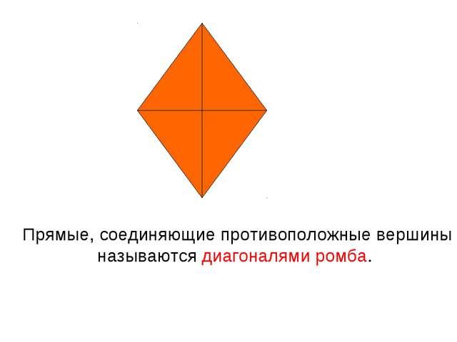 Прямые, соединяющие противоположные вершины называются диагоналями ромба.