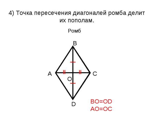 4) Точка пересечения диагоналей ромба делит их пополам. BO=OD AO=OC Ромб
