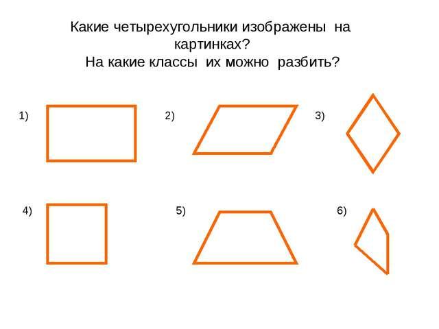 1) 2) 3) 4) 5) 6) Какие четырехугольники изображены на картинках? На какие кл...