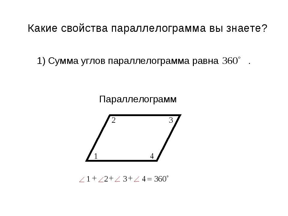 1) Сумма углов параллелограмма равна . Какие свойства параллелограмма вы знае...