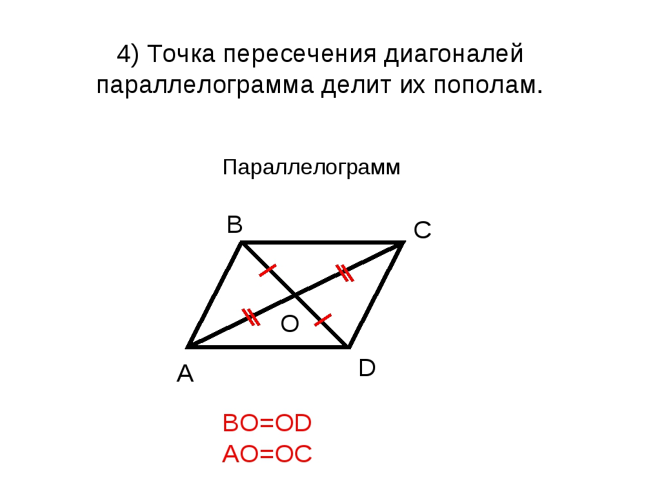 4) Точка пересечения диагоналей параллелограмма делит их пополам. BO=OD AO=OC...