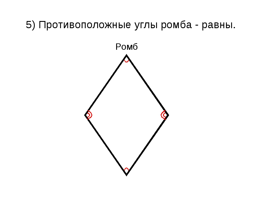 5) Противоположные углы ромба - равны. Ромб