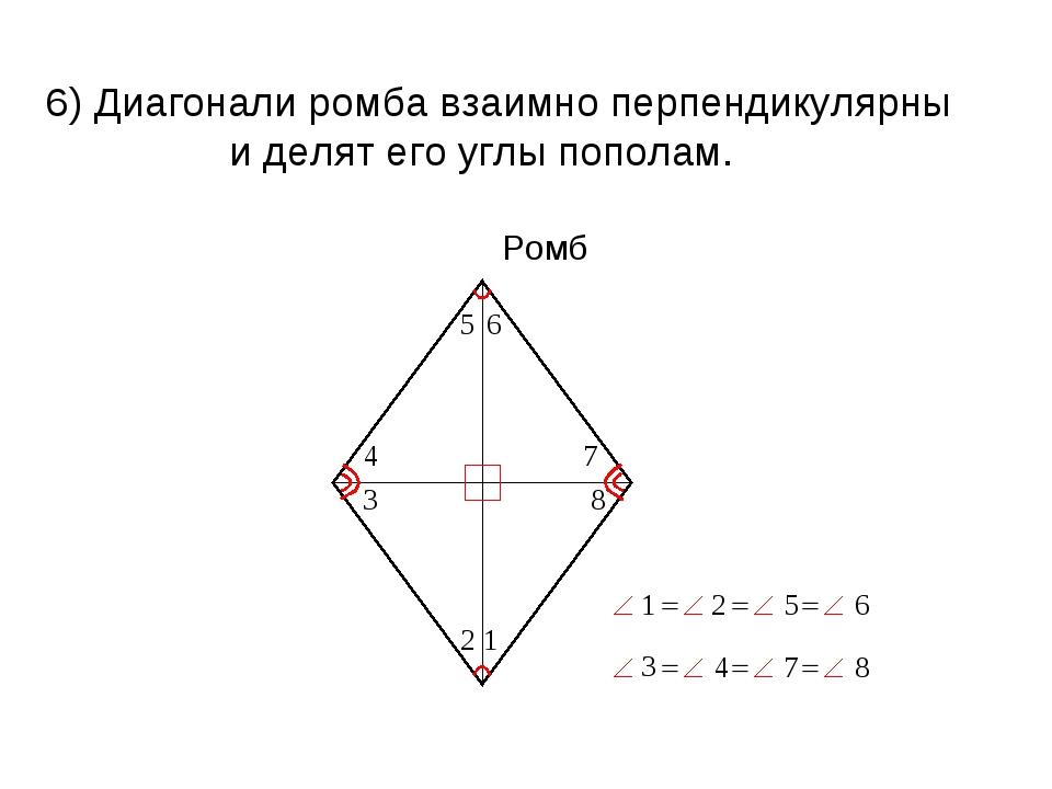 6) Диагонали ромба взаимно перпендикулярны и делят его углы пополам. Ромб