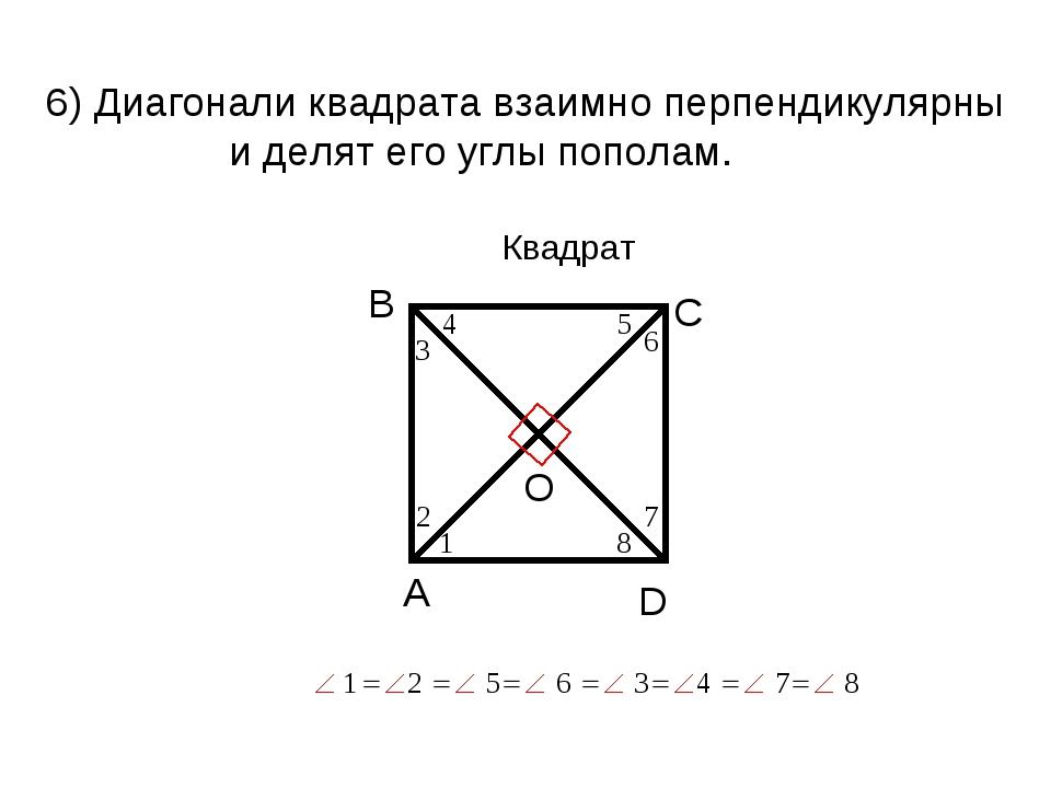 6) Диагонали квадрата взаимно перпендикулярны и делят его углы пополам. Квадрат