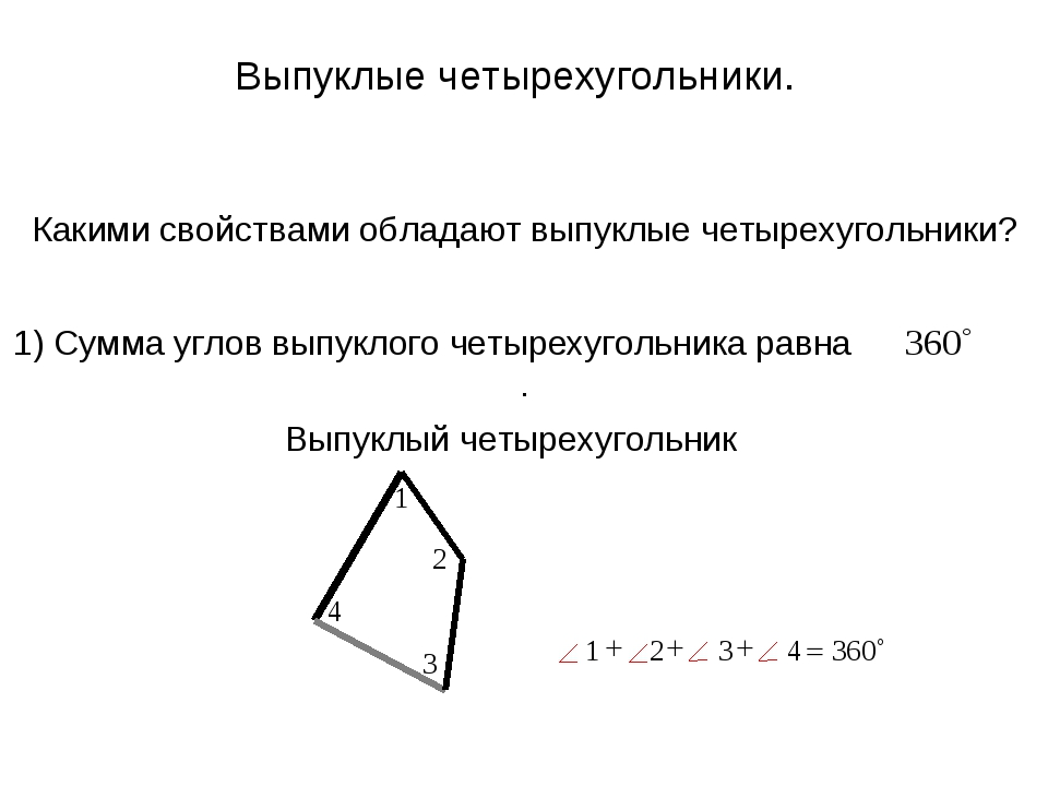 Какими свойствами обладают выпуклые четырехугольники? Выпуклые четырехугольни...