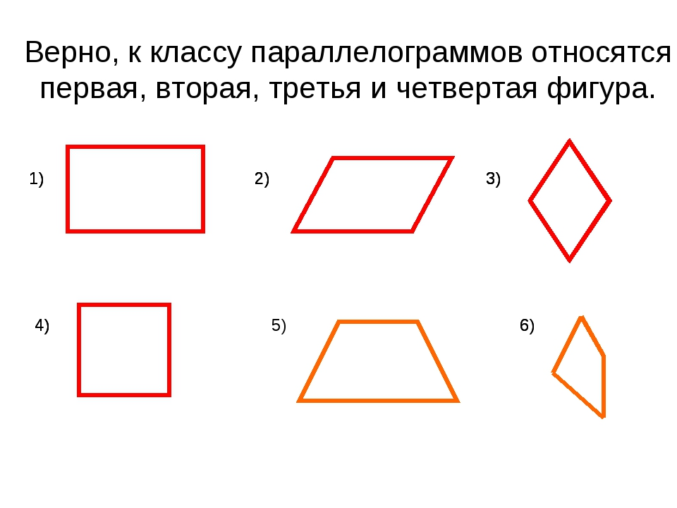 Верно, к классу параллелограммов относятся первая, вторая, третья и четвертая...
