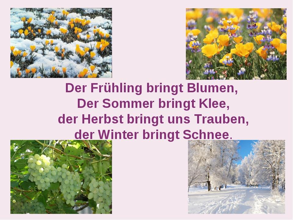 Der Frühling bringt Blumen, Der Sommer bringt Klee, der Herbst bringt uns Tra...