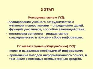 3 ЭТАП Коммуникативные УУД: - планирование учебного сотрудничества с учителе